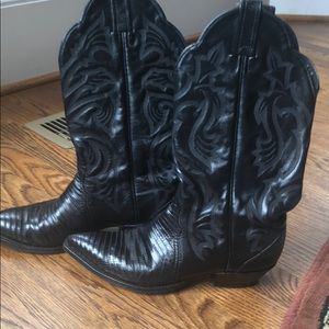 Awesome Tony Lama Black Cowboy Boots 8 Excellent
